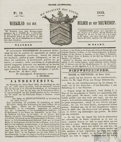 Weekblad van Den Helder en het Nieuwediep 1853-03-28