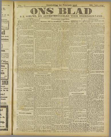 Ons Blad : katholiek nieuwsblad voor N-H 1919-02-20