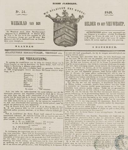Weekblad van Den Helder en het Nieuwediep 1848-12-04