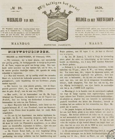 Weekblad van Den Helder en het Nieuwediep 1858-03-01