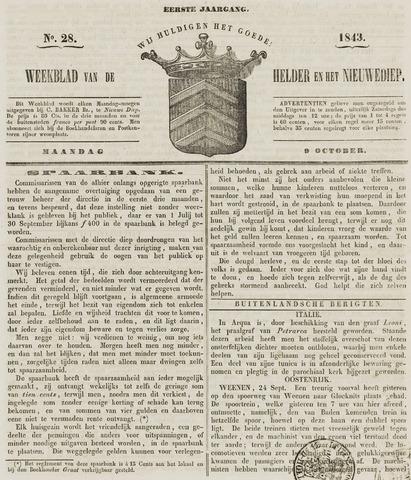Weekblad van Den Helder en het Nieuwediep 1843-10-09