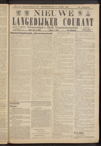Nieuwe Langedijker Courant 1931-04-23