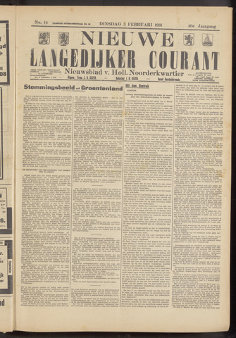 Nieuwe Langedijker Courant 1931-02-03