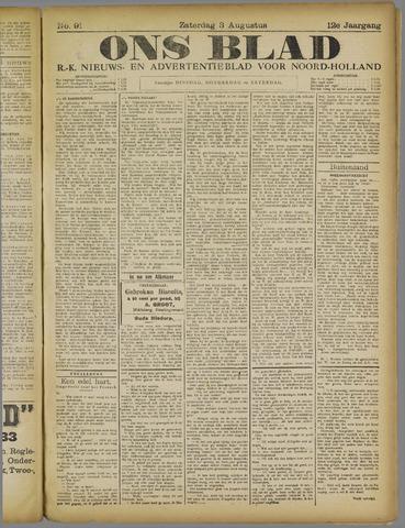 Ons Blad : katholiek nieuwsblad voor N-H 1918-08-03