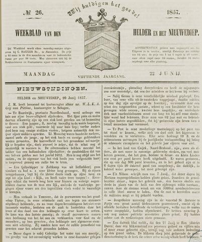Weekblad van Den Helder en het Nieuwediep 1857-06-22