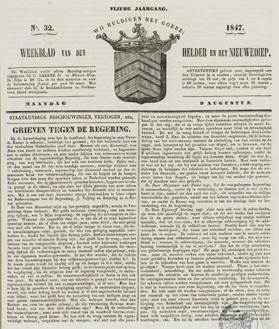 Weekblad van Den Helder en het Nieuwediep 1847-08-09