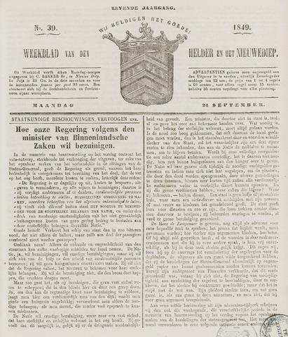 Weekblad van Den Helder en het Nieuwediep 1849-09-24