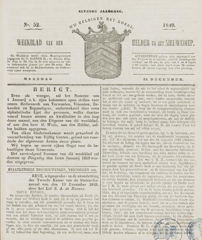 Weekblad van Den Helder en het Nieuwediep 1849-12-24