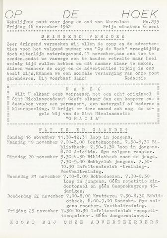 Op De Hoek, weekblad voor Akersloot 1962-11-16