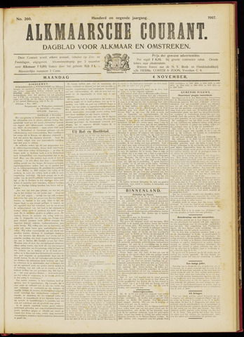 Alkmaarsche Courant 1907-11-04