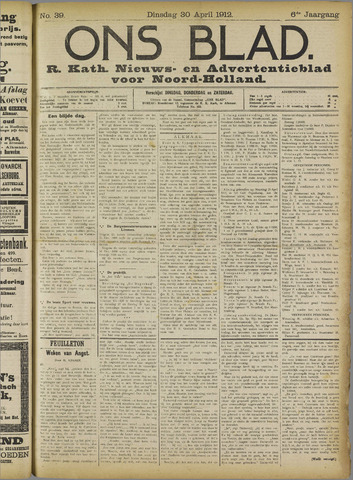 Ons Blad : katholiek nieuwsblad voor N-H 1912-04-30
