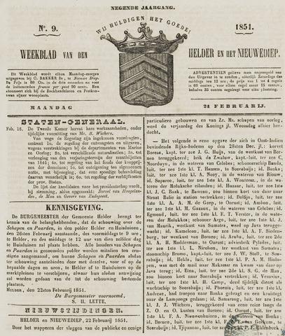 Weekblad van Den Helder en het Nieuwediep 1851-02-24