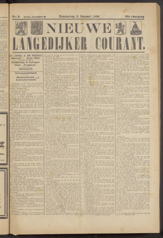 Nieuwe Langedijker Courant 1923-01-11