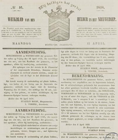 Weekblad van Den Helder en het Nieuwediep 1858-04-12
