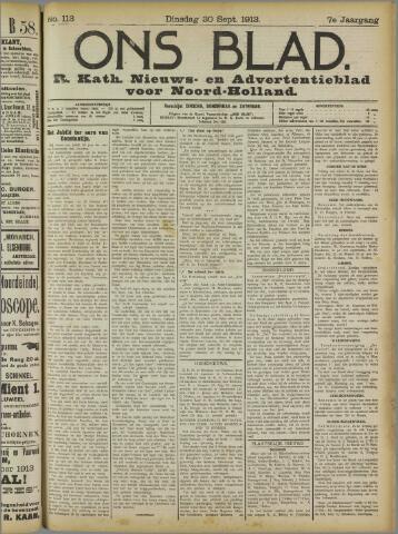 Ons Blad : katholiek nieuwsblad voor N-H 1913-09-30