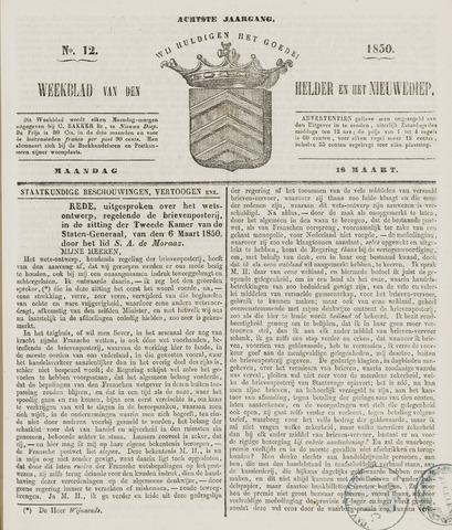Weekblad van Den Helder en het Nieuwediep 1850-03-18