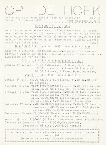Op De Hoek, weekblad voor Akersloot 1962-01-12