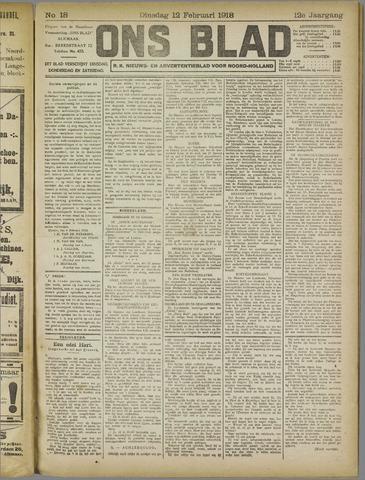 Ons Blad : katholiek nieuwsblad voor N-H 1918-02-12