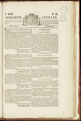 Alkmaarsche Courant 1849-11-19