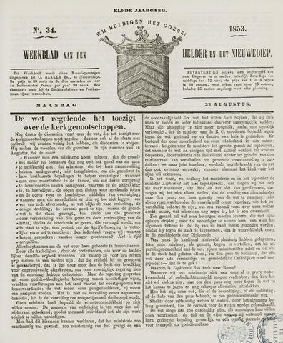 Weekblad van Den Helder en het Nieuwediep 1853-08-22