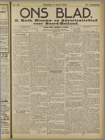 Ons Blad : katholiek nieuwsblad voor N-H 1916-04-04