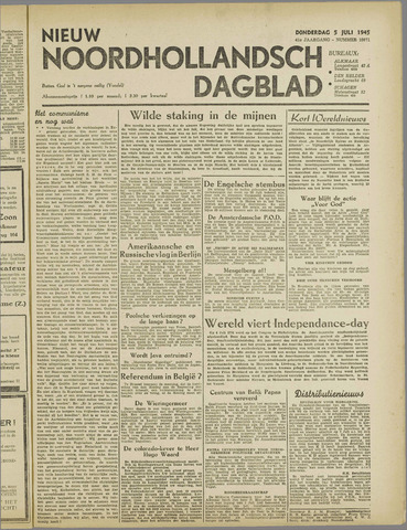 Nieuw Noordhollandsch Dagblad : voor Alkmaar en omgeving 1945-07-05