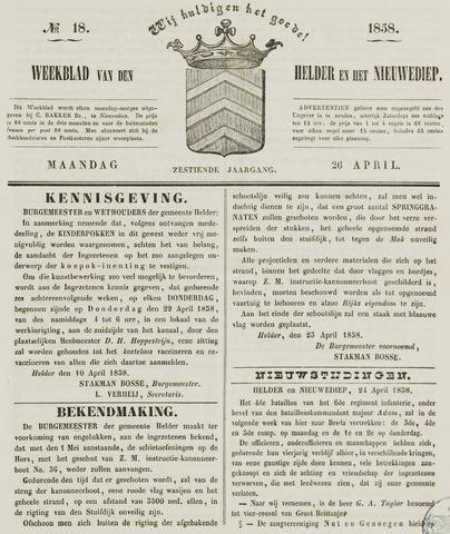 Weekblad van Den Helder en het Nieuwediep 1858-04-26