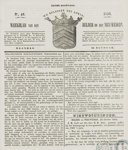 Weekblad van Den Helder en het Nieuwediep 1853-10-24