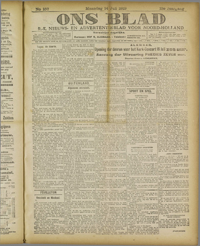 Ons Blad : katholiek nieuwsblad voor N-H 1919-07-14