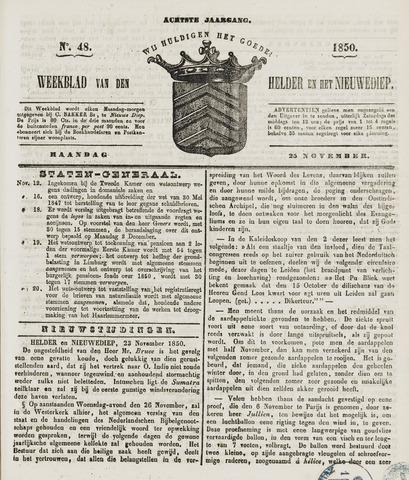 Weekblad van Den Helder en het Nieuwediep 1850-11-25