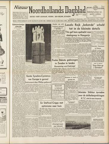 Nieuw Noordhollandsch Dagblad : voor Alkmaar en omgeving 1949-09-17