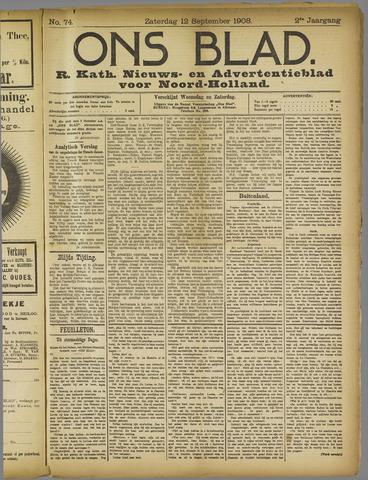 Ons Blad : katholiek nieuwsblad voor N-H 1908-09-12