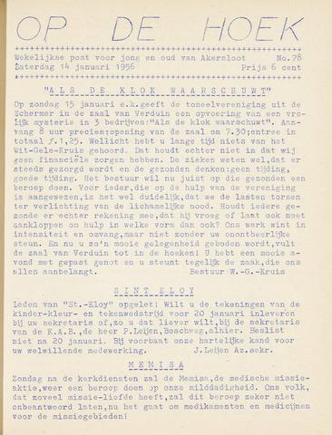 Op De Hoek, weekblad voor Akersloot 1956-01-14