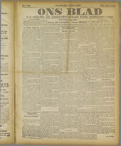 Ons Blad : katholiek nieuwsblad voor N-H 1919-07-03