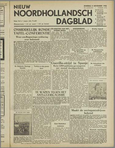 Nieuw Noordhollandsch Dagblad : voor Alkmaar en omgeving 1945-11-06