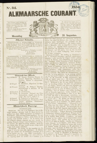 Alkmaarsche Courant 1854-08-21