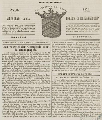Weekblad van Den Helder en het Nieuwediep 1851-10-27
