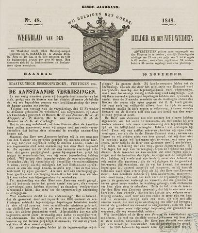 Weekblad van Den Helder en het Nieuwediep 1848-11-20
