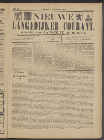 Nieuwe Langedijker Courant 1896-11-01