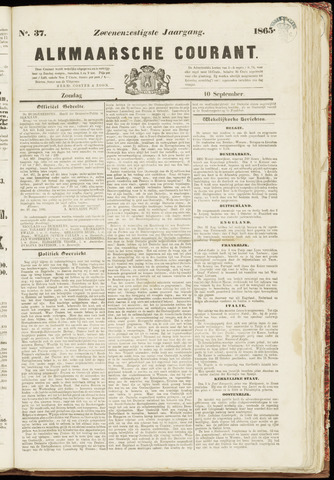 Alkmaarsche Courant 1865-09-10