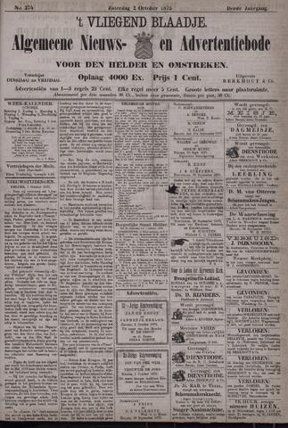Vliegend blaadje : nieuws- en advertentiebode voor Den Helder 1875-10-02