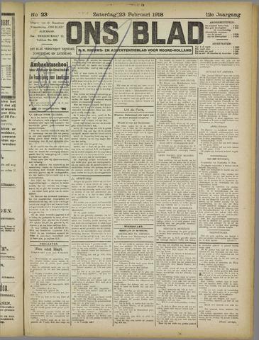 Ons Blad : katholiek nieuwsblad voor N-H 1918-02-23
