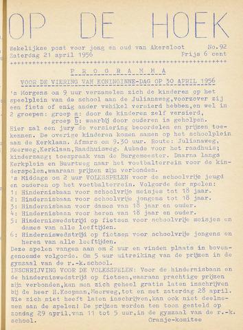 Op De Hoek, weekblad voor Akersloot 1956-04-21