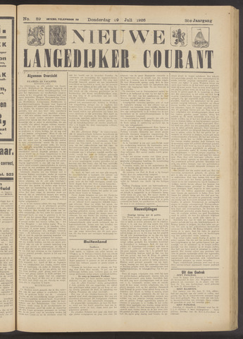 Nieuwe Langedijker Courant 1926-07-29