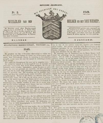 Weekblad van Den Helder en het Nieuwediep 1849-01-08