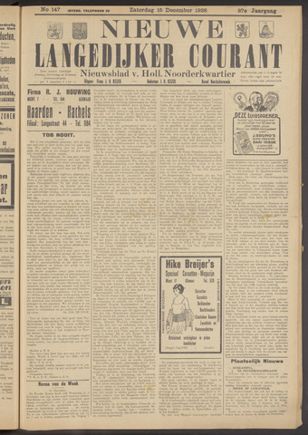 Nieuwe Langedijker Courant 1928-12-15
