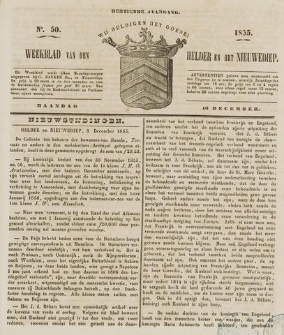 Weekblad van Den Helder en het Nieuwediep 1855-12-10