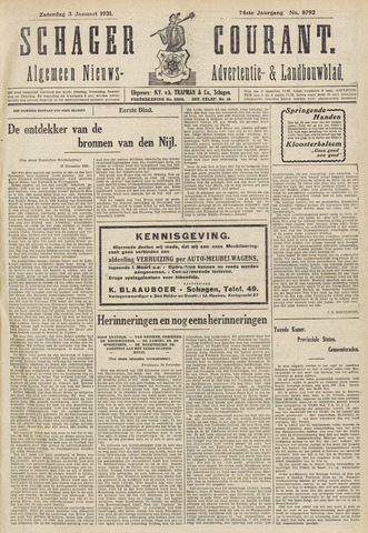 Schager Courant 1931