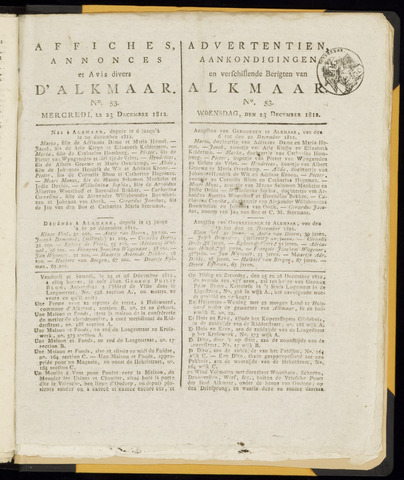 Alkmaarsche Courant 1812-12-23