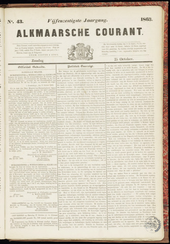 Alkmaarsche Courant 1863-10-25
